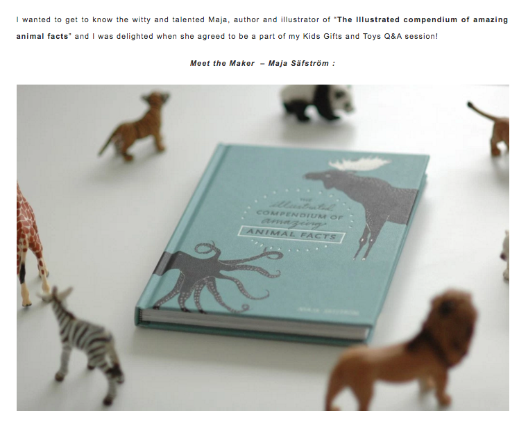 kidsgiftsandtoys, maja säfström, majasbok, the illustrated compendium of amazing animal facts, animal fact book, illustrated animals, swedish illustrator, animal illustrations, meet the maker, maja säfström interview, meet the maker interview