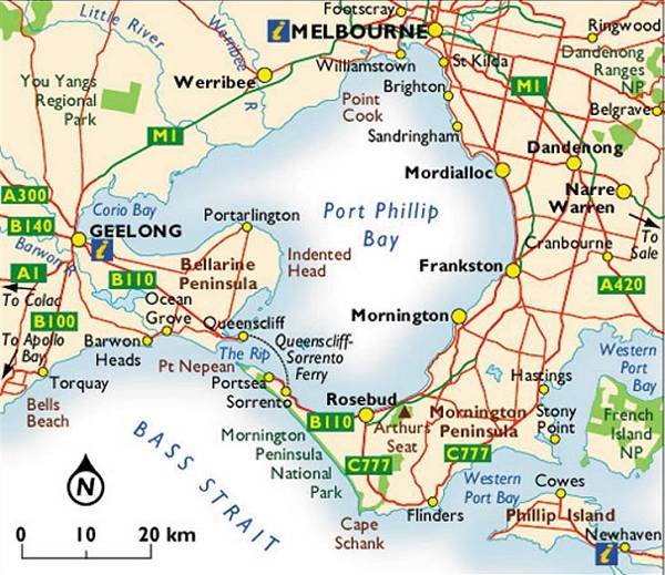 MAP OF MORNINGTON PENINSULA & MELBOURNE (Image credits: http://www.bcl.com.au/melbourne/victoriamap03.htm)