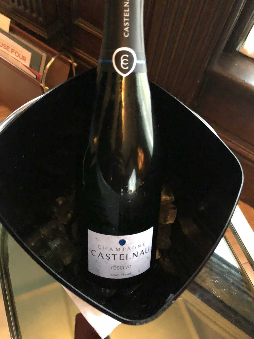 Chilled bottle of Champagne Castelnau Brut Reserve (Credits: Sumi Sarma)