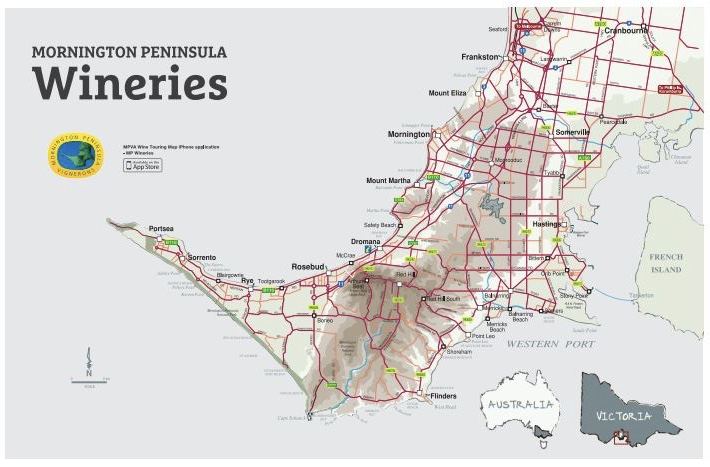 Wineries of Mornington Peninsula (Map credit :Mornington Peninsula Vignerons Association)