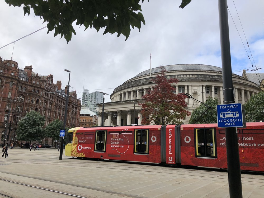 Roman Rotunda derived Manchester City Library and the modern trams spanning the city of Manchester (Image: Sumi Sarma)