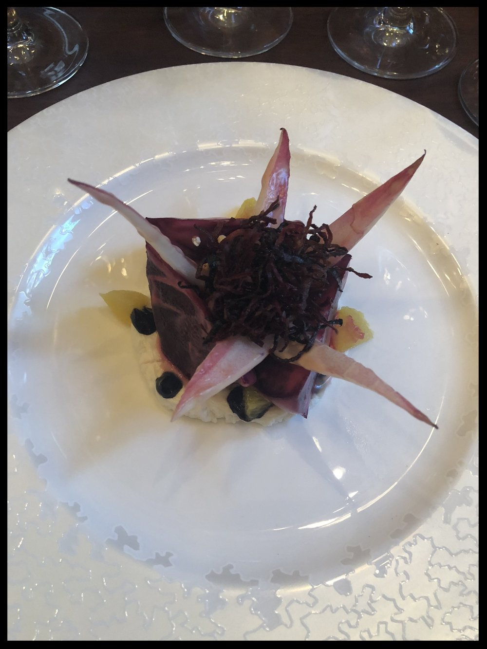 Beetroot salad with Creamed Goat's cheese, cracked buckwheat, red chicory and orange (Image: Sumita Sarma)