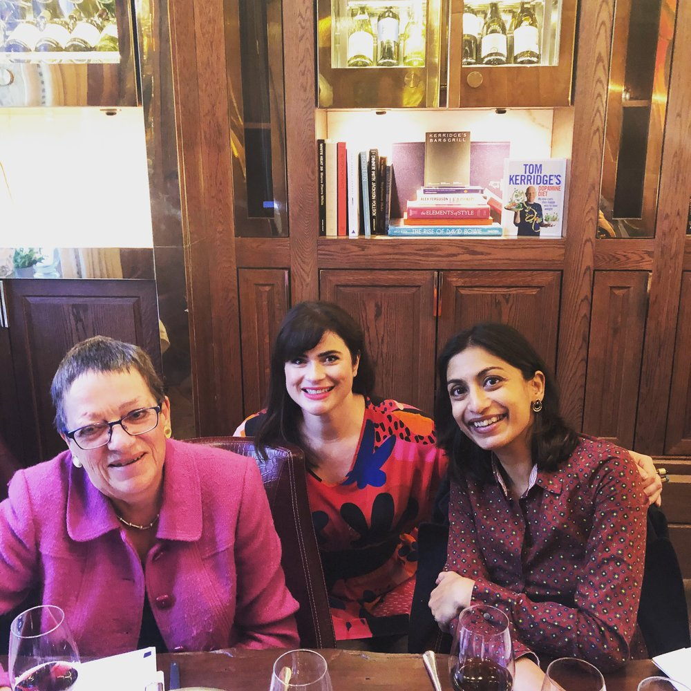 Sumi (right) with Natalie Christensen (middle) and Rosemary George MW (left) during Natalie's recent visit to London (Image: Sumi Sarma)