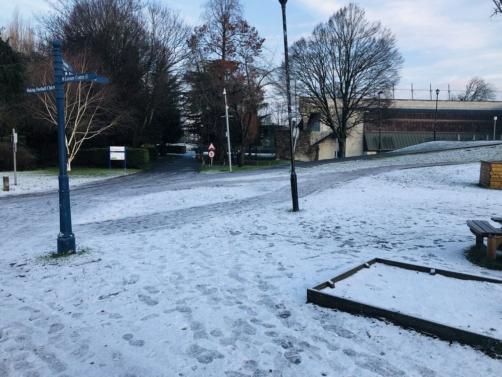 Parkrun Woking (second week of January 2019, one of the few rare times Parkrun had to be cancelled as the grounds were just too slippery. But yes it does go on irrespective! (Image: Sumi Sarma)