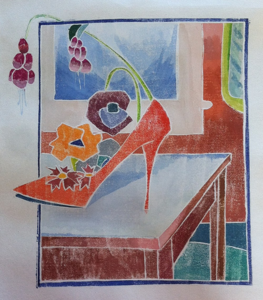 Inspired by Blanche Lazell's prints, Patti Ryan created a fanciful still life.