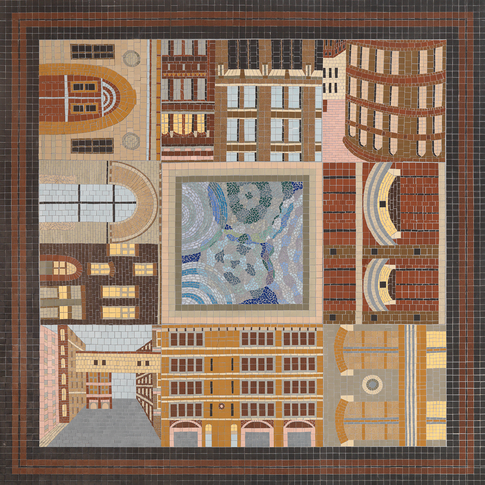 City Square With Reflecting Pool , ceramic tile mosaic, 6' X 6', ©2014