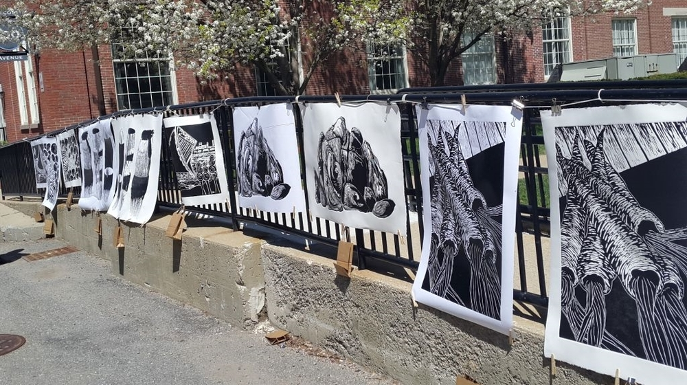 Many of our prints drying in the wind on Big Print Day.