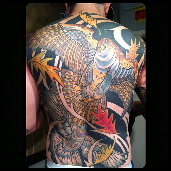 Falcon and Carrier Pigeon Backpiece Tattoo