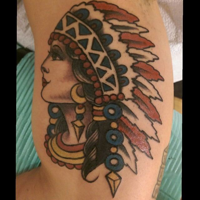 Sailor Jerry Tattoo Native American Lady