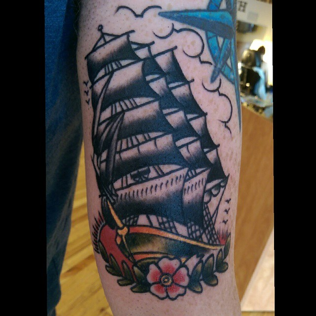 Sailor Jerry Tattoo Clipper Ship With Flower