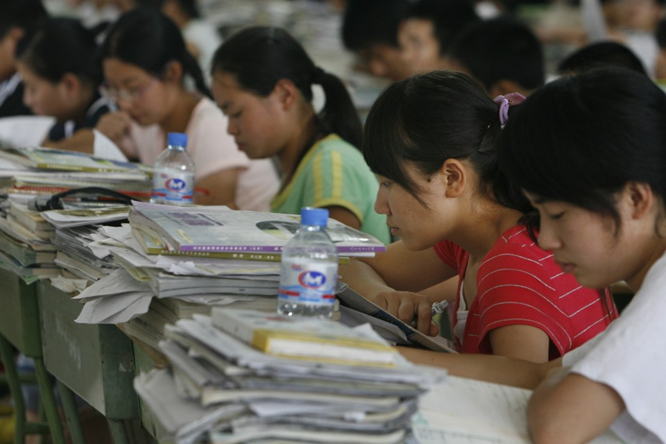 Students prepare for a college entrance exam in China's Sichuan province.Claro Cortes / Reuters