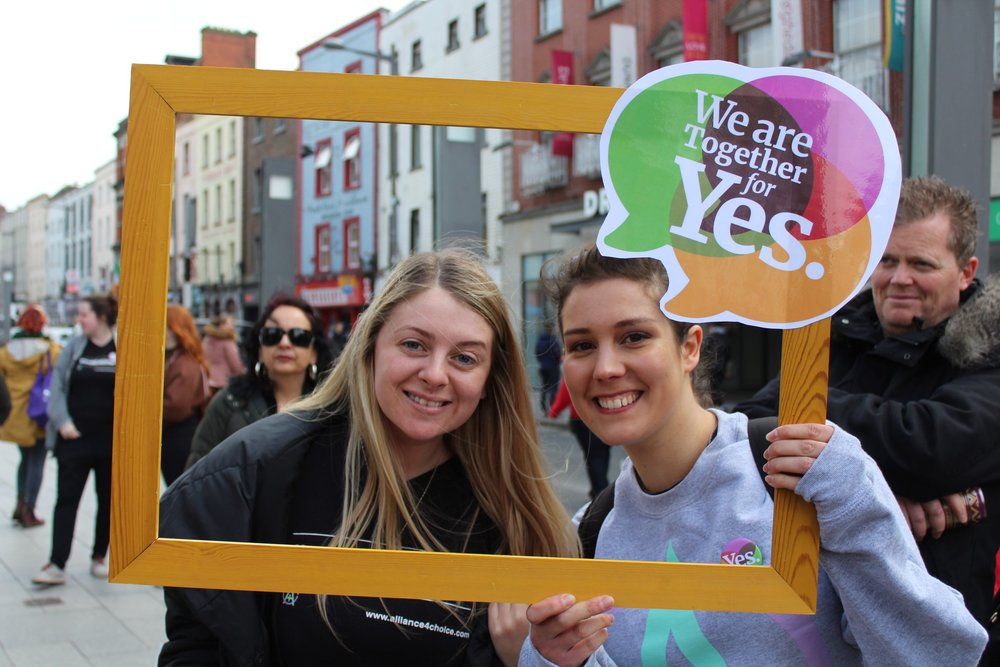 Briege and Zoe from Alliance for Choice Belfast, Canvassing at the launch of the Drogheda Together for Yes Campaign