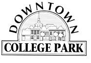 Downtown College Park Logo black and white.png