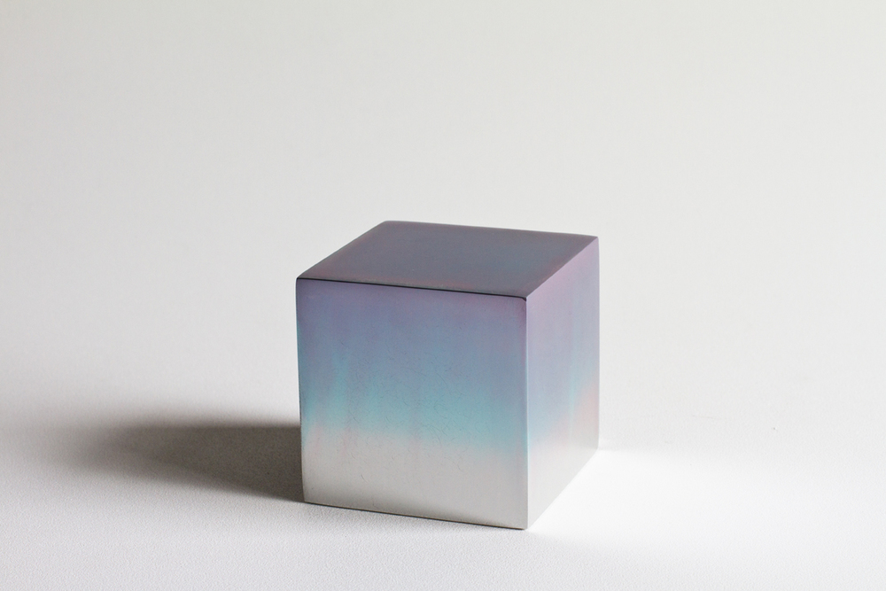 "Reflection Cube, DYE, WATER, SOLID ALUMINUM CUBE  4"" x 4"" x 4""  2010-2015"