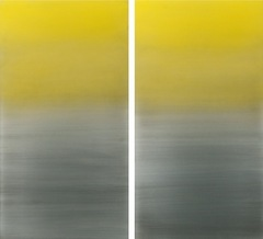 Miya Ando, Gold Diptych, 2015, urethane and pigment on aluminum, 48 x 48″