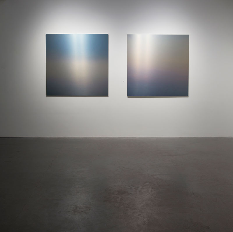 "Miya Ando: Evening San Francisco, 2014, dye on aluminum, 48 x 48"" each"