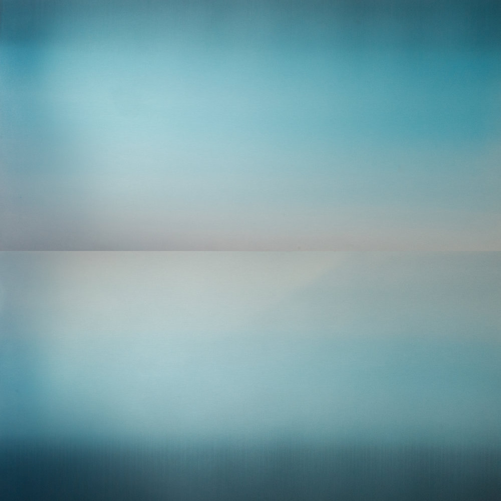 "HAKKANAI (FLEETING) SEA SKY BLUE, 48"" X 48"", 2013DYE, WATER, ANODIZED ALUMINUM"
