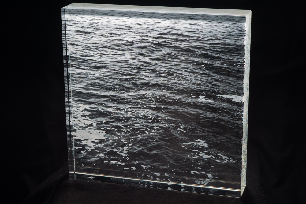 """Ocean"", 12 x 12 x 2 inches, solid glass, 2017"