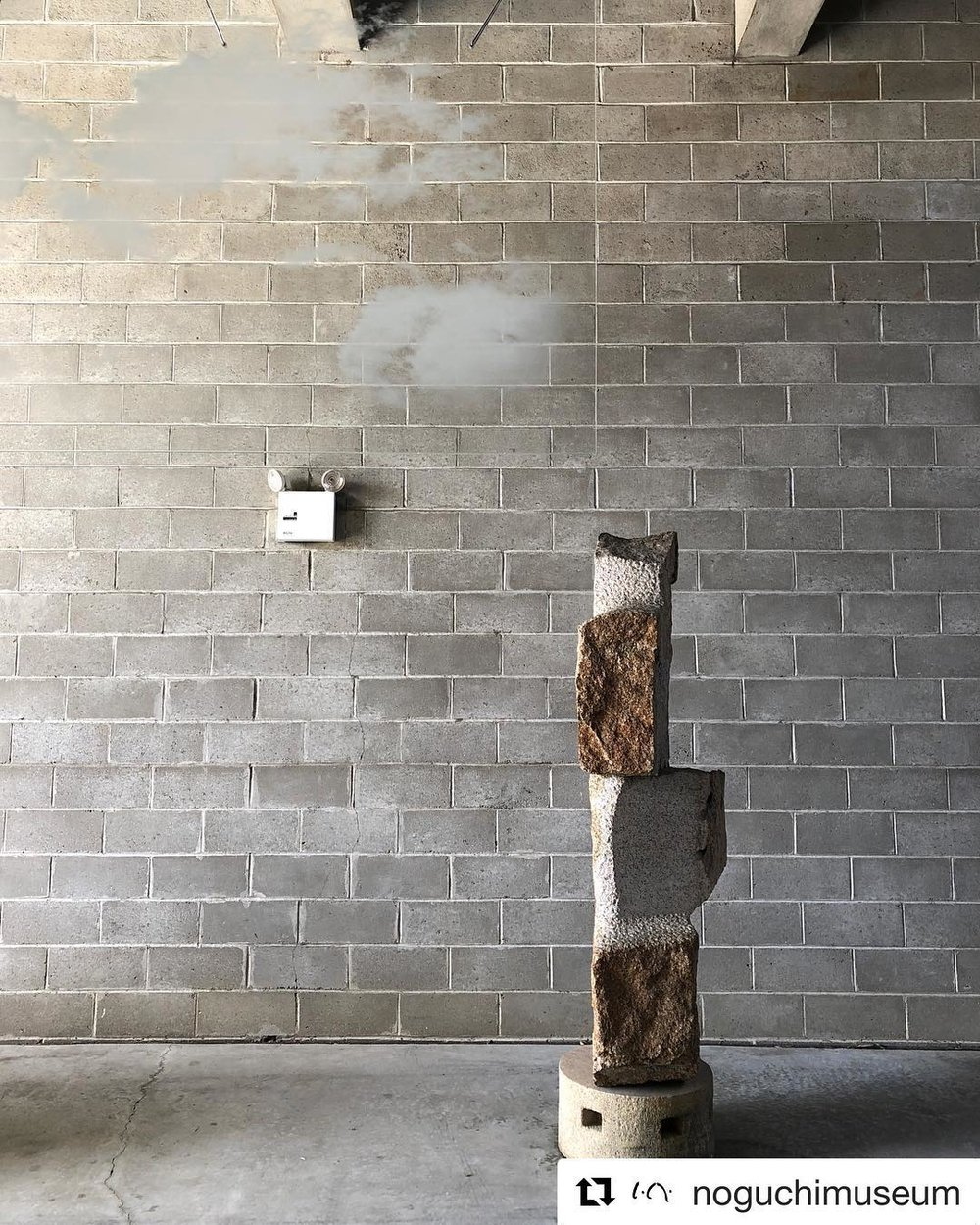 "#Repost @noguchimuseum ・・・ Forecast: #CLOUDS. Two enigmatic works by @studiomiyaando are now abiding in the indoor-outdoor galleries through August 19. Members' reception tonight from 6-8 pm, perfect for sky gazing. ☁️ Join us as a member at noguchi.org/membership. — [#MiyaAndo, 'Haku-un (White Cloud) 4.8.1,' 2017, etched glass. #IsamuNoguchi, 'Awa Odori,' 1982, Mannari granite.] #MiyaAndoClouds #sculpture   http://www.noguchi.org/programs/exhibitions/miya-ando-clouds   Miya Ando: Clouds  Wednesday, April 25, 2018 - Sunday, August 19, 2018     The Noguchi Museum presents  Miya Ando: Clouds , an installation of two site-specific sculptures in the Museum's indoor-outdoor gallery. The works, suspended plate-glass sculptures internally etched with images of clouds, share Isamu Noguchi's interest in sculpting ephemeral materials, and in using them to shape space.  Raised in a Buddhist temple by the sea in Okayama, Japan, and on 25-acres of redwood forest in coastal Northern California, artist Miya Ando has always been drawn to the immaterial quality of fog and clouds. She began creating images of clouds in glass cubes and slabs in 2011. Pushing the limits of commercial laser etching technology from the outset, she started small. By collaborating with a highly specialized factory, she has been able to gradually enlarge them. The two examples for the Museum, the first she has decided to hang— Haku-Un (White Cloud) 4.8.1 , the largest to date, and  Haku-Un (White Cloud) 3.3.1 —take the work in a new, more environmental direction.  The pairing of her clouds with Noguchi's large basalt sculptures was inspired by a Japanese  zengo  (or Zen phrase): ""Blue mountain does not move. White cloud comes and goes naturally."" Although the etched image of clouds in the glass is static, the surface of the glass seems to move, as it mirrors changes in the environment. Meanwhile, the clouds shift in and out of sight as viewers walk around them. Seeming to expand and collapse in the charged landscape of the Museum's indoor-outdoor gallery (Area 1), they are a conceptual and perceptual analogue for Noguchi's collapsible Akari light sculptures—the subject of the Museum's current exhibition   Akari: Sculpture by Other Means .   About Miya Ando  Miya Ando is based in New York City and Los Angeles. Her work has been the subject of international solo exhibitions including at SCAD (Savannah College of Art and Design), Savannah, GA; Shibuya Seibu, Tokyo, Japan; Sundaram Tagore Gallery, New York, NY; and Lesley Kehoe Galleries, Melbourne, Australia. Her art has also been included in group exhibitions at institutions including the Los Angeles County Museum of Art (LACMA), CA; San Jose Museum of Art, CA; Bronx Museum, New York, NY; and Queens Museum of Art, New York, NY. Her work is included in the collections of LACMA and the Detroit Institute of Arts, MI, as well as in numerous private collections. Ando has been the recipient of numerous grants and awards, including the Pollock-Krasner Foundation Grant Award and Commission for The Philip Johnson Glass House, New Canaan, CT.   Miya Ando: Clouds  is supported, in part, by public funds from the New York City Department of Cultural Affairs in partnership with the City Council, and by the New York State Council on the Arts with the support of Governor Andrew M. Cuomo and the New York State Legislature."