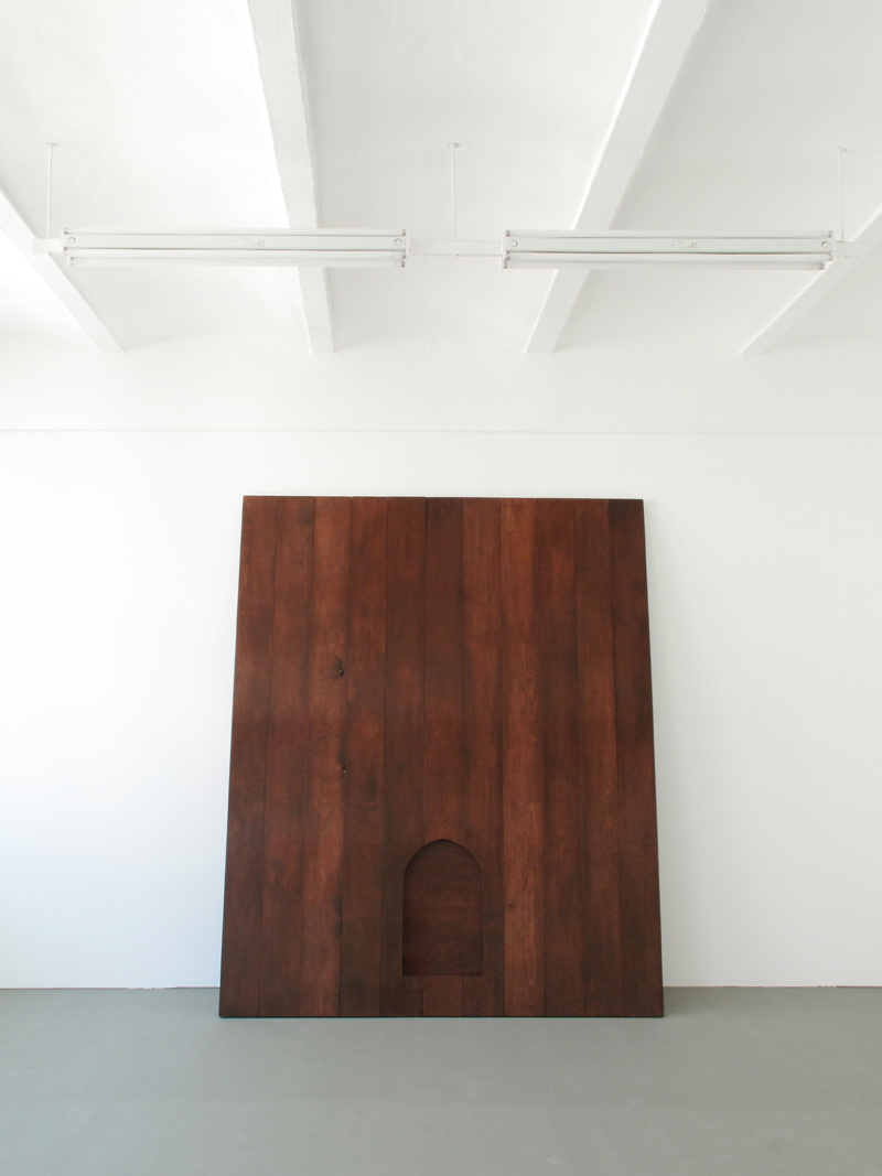 "Some are born to sweet delight, some are born to endless night Lacquer on oak wood, brass 110x80"" / 280x200 Cm 2012"