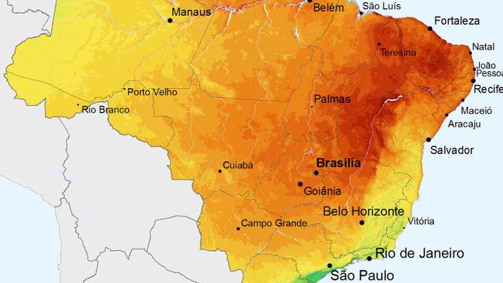 mapa radiação solar brasil