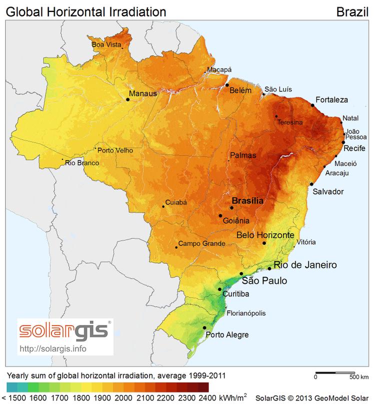 Mapa de radiação solar no Brasil.