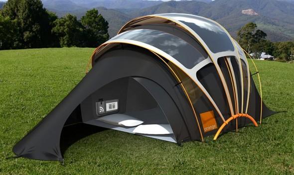 O tecido especial da barraca absorve o calor para transformar em energia.