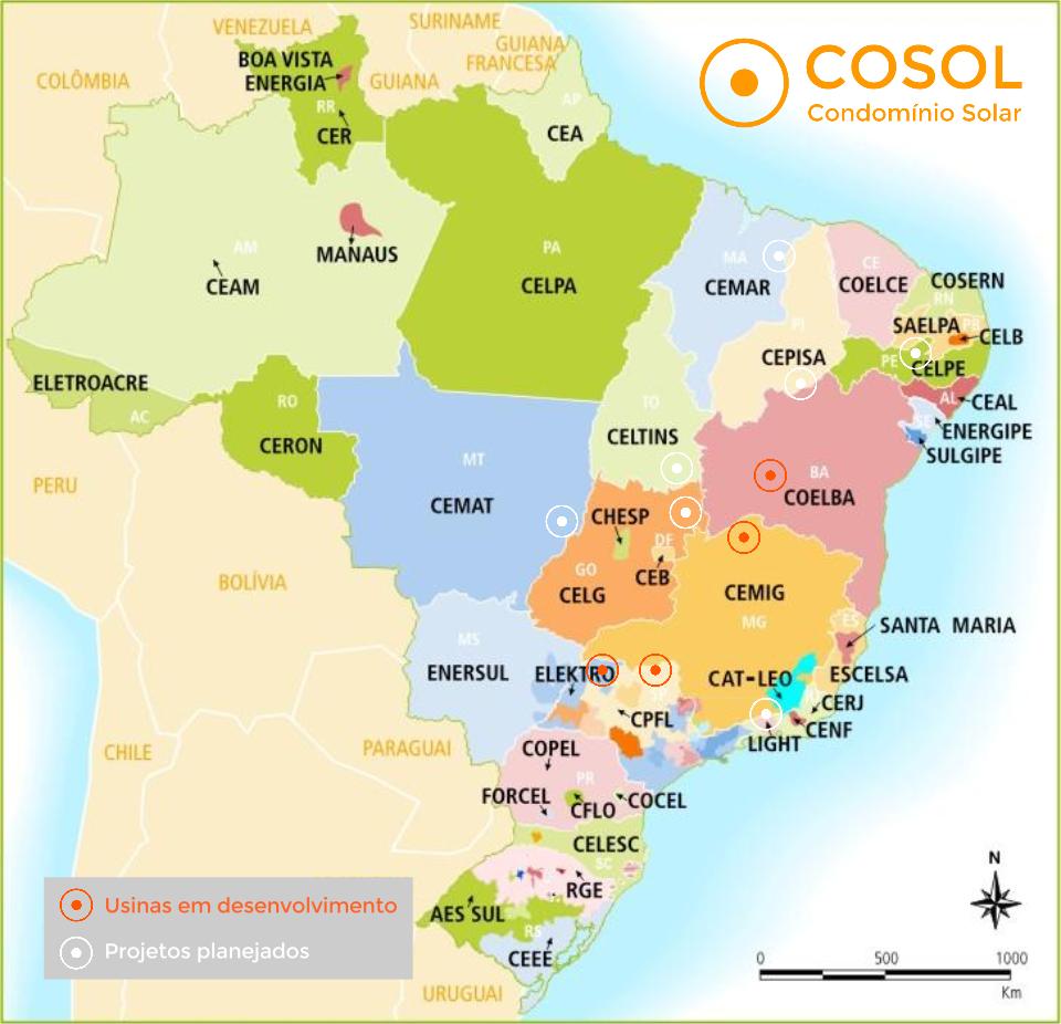 Mapa das usinas cadastradas no marketplace COSOL. Mapa das áreas da distribuição e permissão da energia no Brasil. Fonte: ANEEL