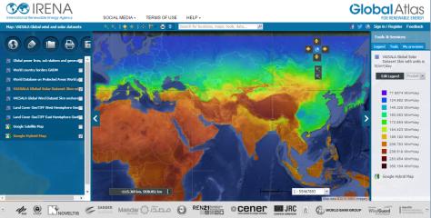 O mapa da Vaisala no Atlas Global fornece acesso a radiação solar e velocidade do vento globais.