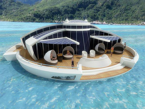 Navio em forma de ilha flutuante, alimentado por energia solar.