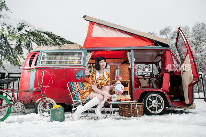 miss erised outside vw camper in snow