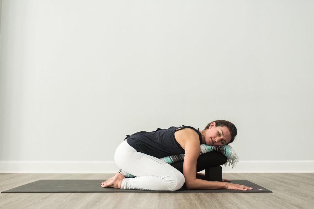 Restorative yoga childs pose