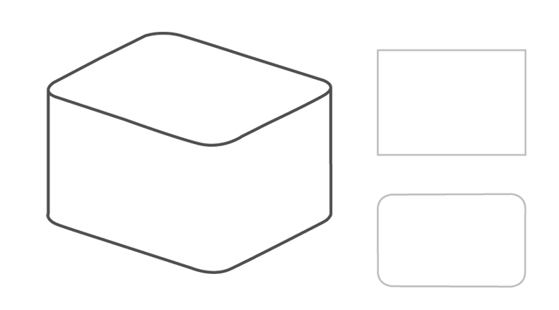 Rectangle shape with rounded angles.