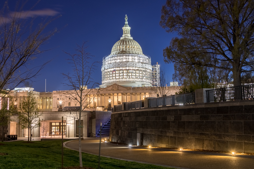 The U.S. Capitol Building with reduced scaffolding as a part of