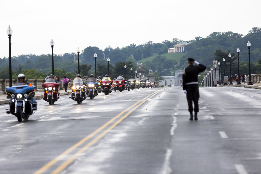 Saluting Rolling Thunder crossing Arlington Memorial Bridge