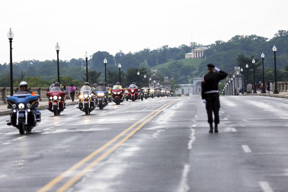 Saluting Rolling Thunder crossing Arlington Memorial Bridge