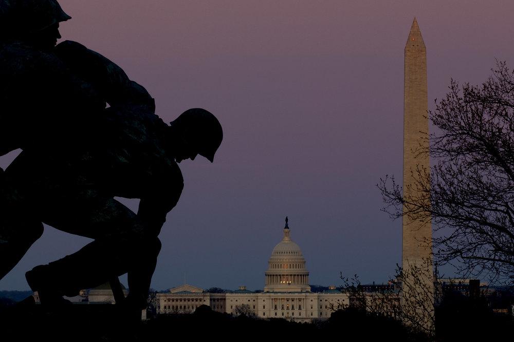 A Fun crop at twilight - Iwo Jima and US Capitol