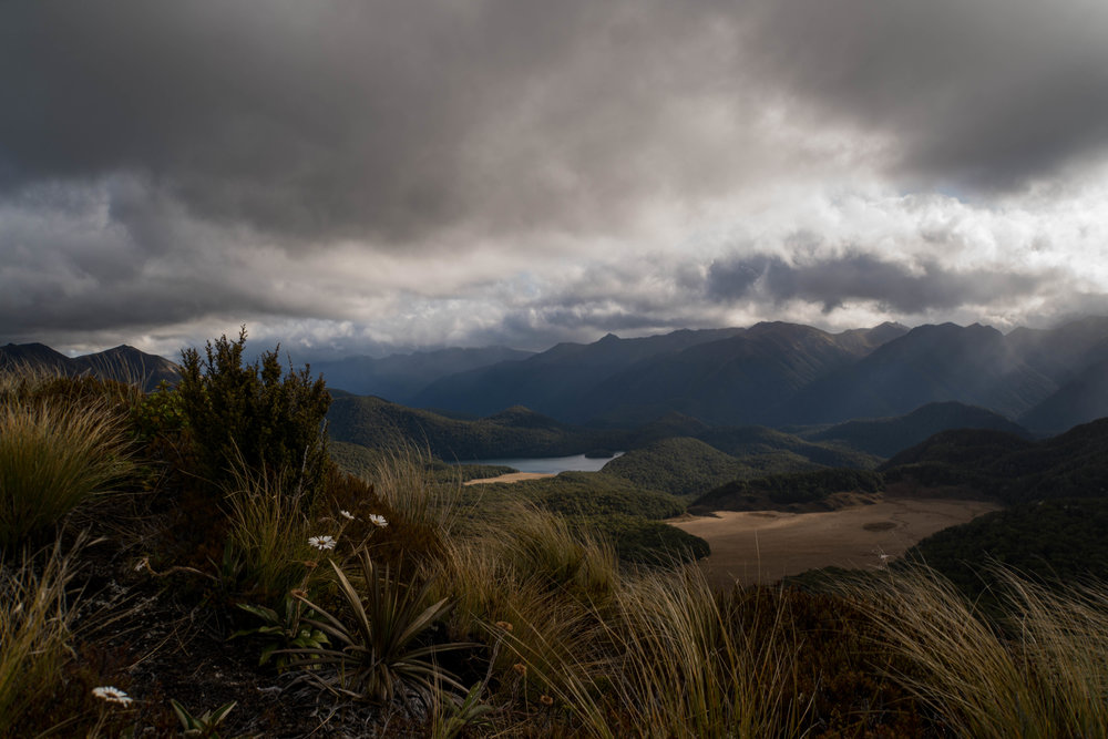 Variable weather from Mt. Burns lookout. Borland Road, NZ.