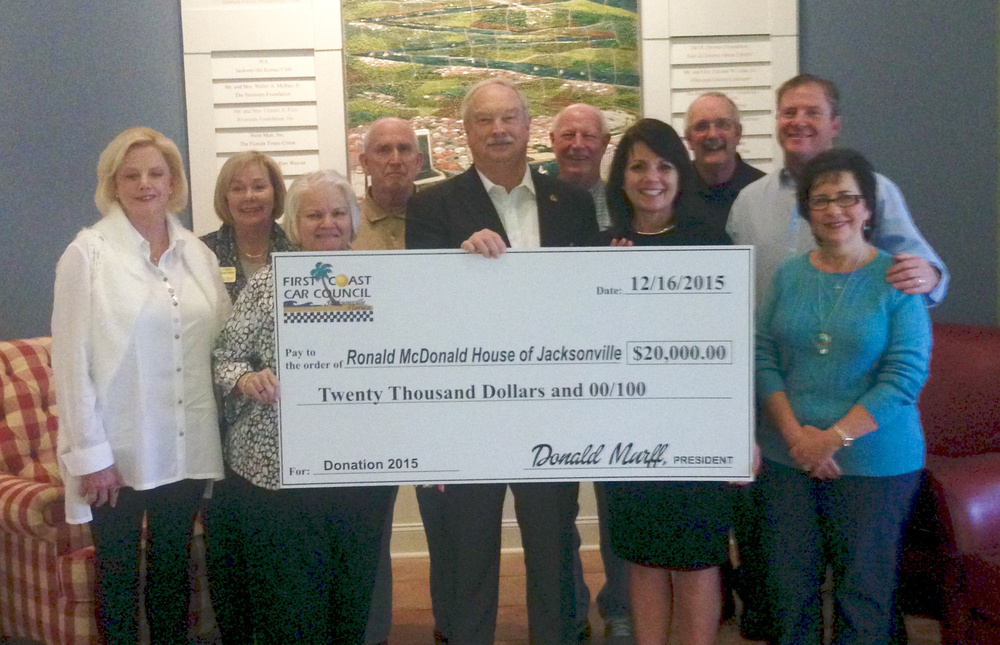 Check Presentation to the Ronald McDonald House of Jacksonville for FCCC's 2015 Contribution