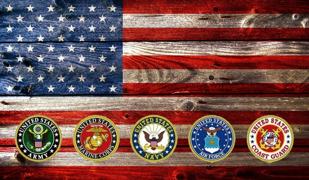 Military and Veteran Moving Logos over American Flag