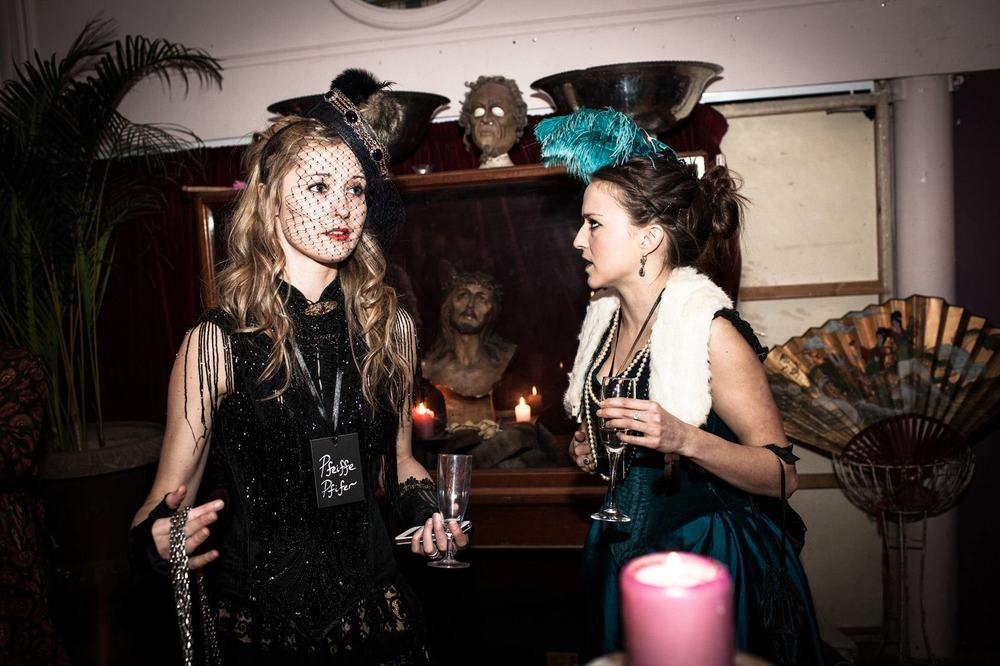 Fabulous ladies in fabulous costumes in our Victorian murder mystery