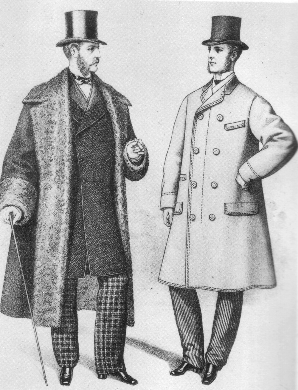 Victorian men in top hats and coats