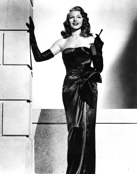Rita Hayworth in long sleeved gloves