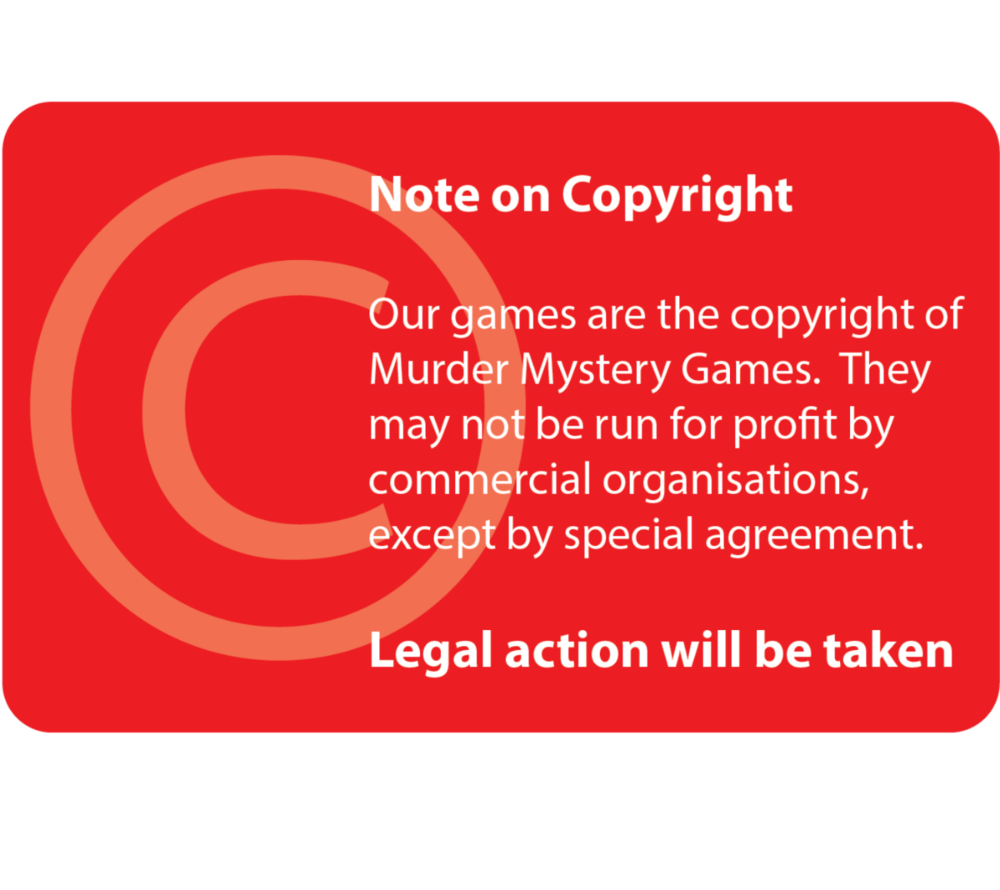 Note on Copyright on Murder Mystery Games Website