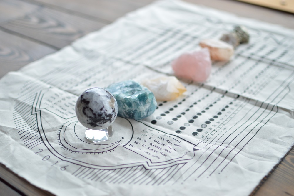 Crystals are a big love of ours in grounding the yoga room.