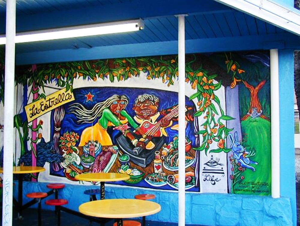 Life , mural, acrylic, 1999   La Estrella  restaurant, Highland Park, CA.