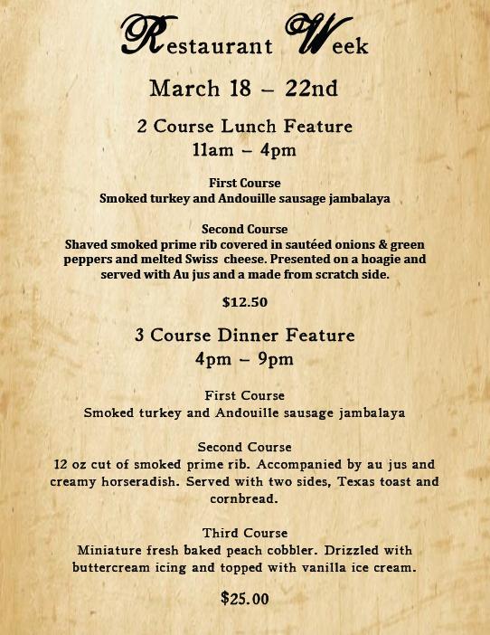 Sheboygan Restaurant Week March 18 - March 22nd.