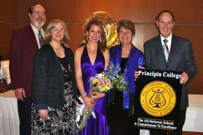 After a recital by Lindsay at Principia College in Elsah, IL, 2008.