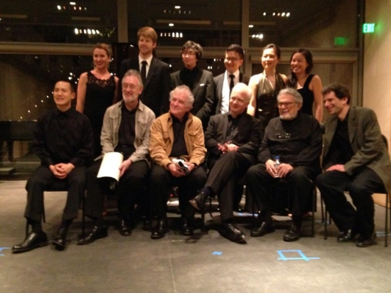 With the phenomenal Leon Fleisher and the Juilliard Quartet after their Brahms Quintet; also with five fantastic pianists after Messiaen's Vision de l'Amen. Nasher Sculpture Center, Dallas. May 2014