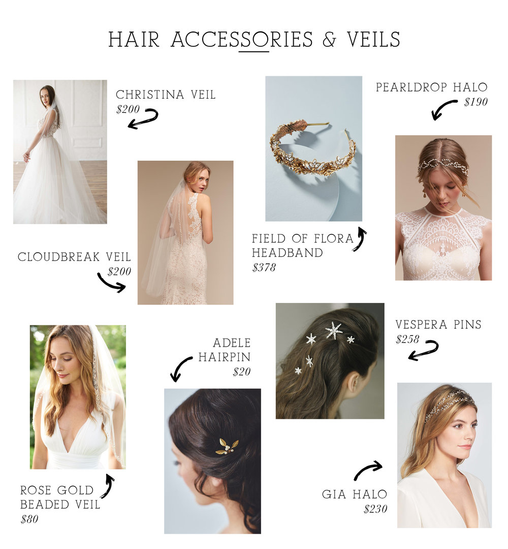 Christina Veil  /  Cloudbreak Veil  /  Field of Flora Headband  /  Pearldrop Halo  /  Rose Gold Beaded Veil  /  Adele Hairpin  /  Vespera Pins  /  Gia Halo